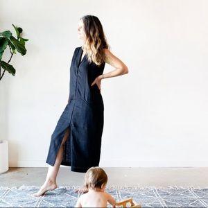 Chapter Goods 100% Linen Column Dress in Black Ink